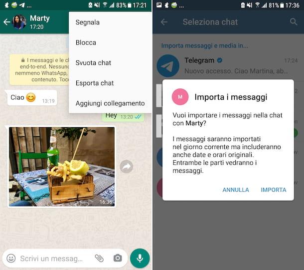 Transferir chats de WhatsApp a Android Telegram